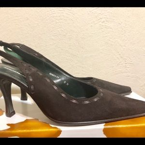 Donald Pliner Women Sz 8M Brown Suede Sling Back